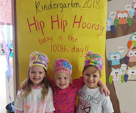 Students celebrating 100th day of school